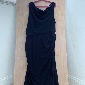 Vera Wang Navy Ruched Dress Size 12
